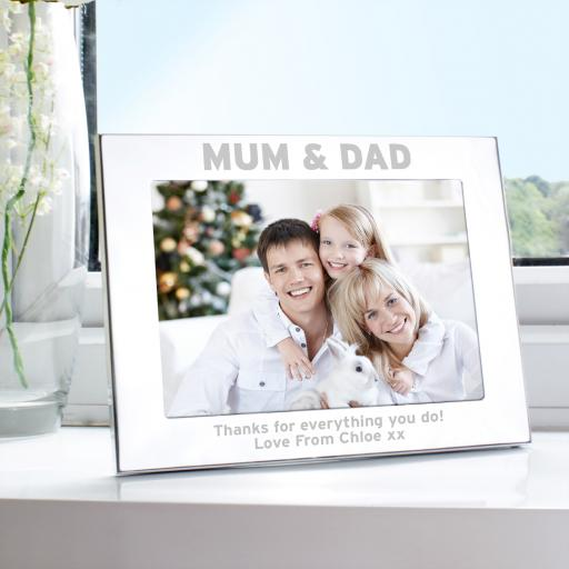 Personalised engraved Silver 5x7 Mum and Dad Frame