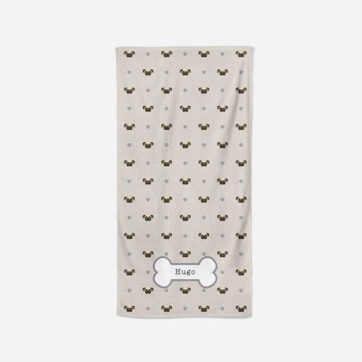 Personalised Pug Towel - Pattern