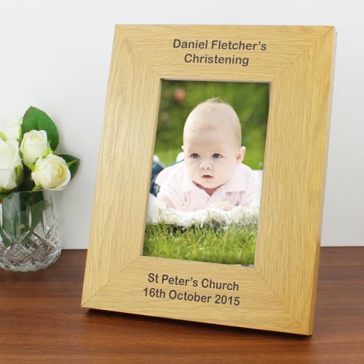 Personalised Oak Finish 6x4 Portrait Photo Frame - Long Message