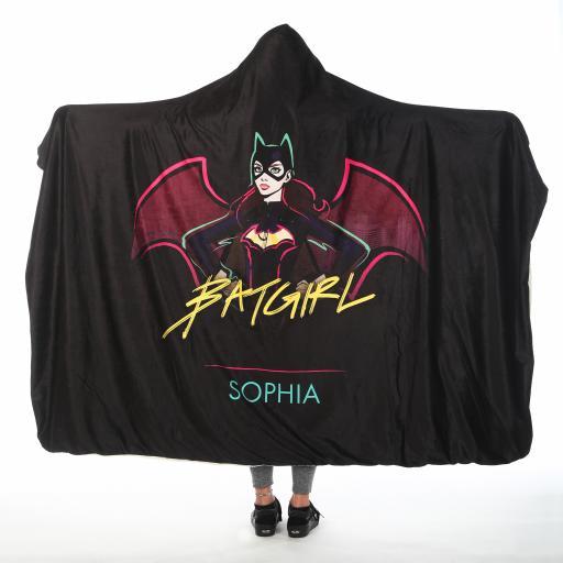 Personalised Batman Adult Hooded Fleece Blanket - Batgirl.