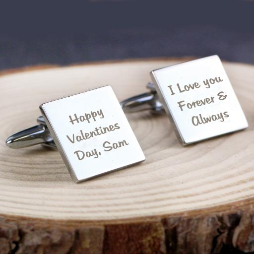 Personalised  Engraved Any Message Square Cufflinks - 3 lines