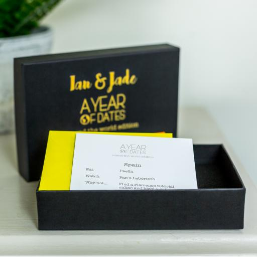 Personalised Box of Dates - A Year of Dates: Round The World Edition - Black.
