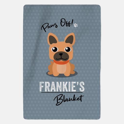 Personalised Brown French Bulldog Fleece Blanket - Paws Off
