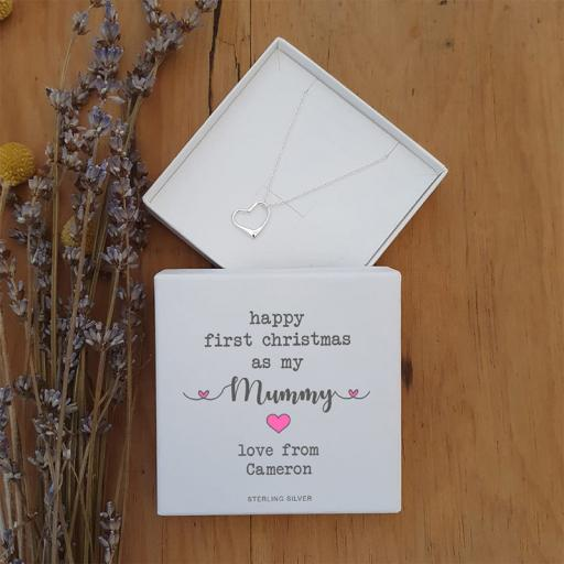 Personalised Happy First Christmas Mummy Silver Heart Pendant