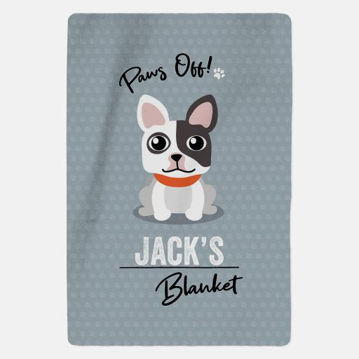 Personalised White & Black French Bulldog Blanket - Paws Off