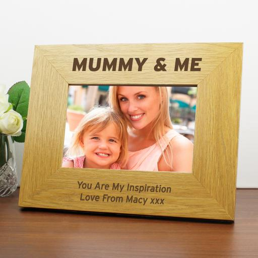 Personalised Mummy & Me 6x4 Wooden Photo Frame