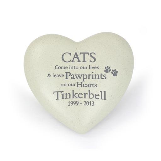Personalised Cat Pawprints Heart Memorial
