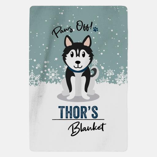 Personalised Black Husky Fleece Blanket - Paws Off