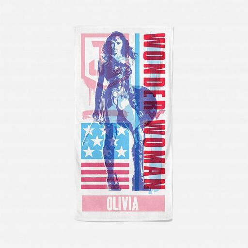 Personalised Justice League Wonder Woman Personalised Towel.