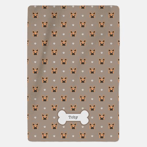Personalised Brown French Bulldog Fleece Blanket - Pattern