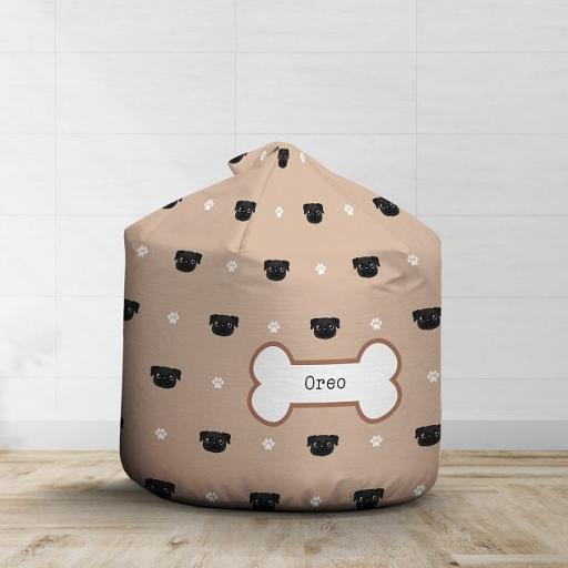 Personalised Black Pug Bean Bag - Pattern
