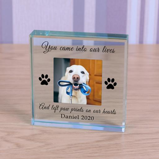 Personalised Glass Token - Paw prints on our...