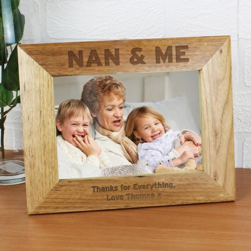 Personalised engraved Nan & Me 5 x 7 Wooden Photo Frame