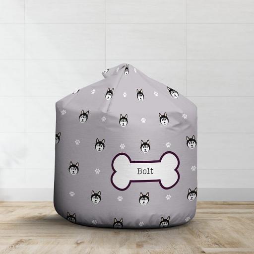 Personalised Black Husky Bean Bag - Pattern