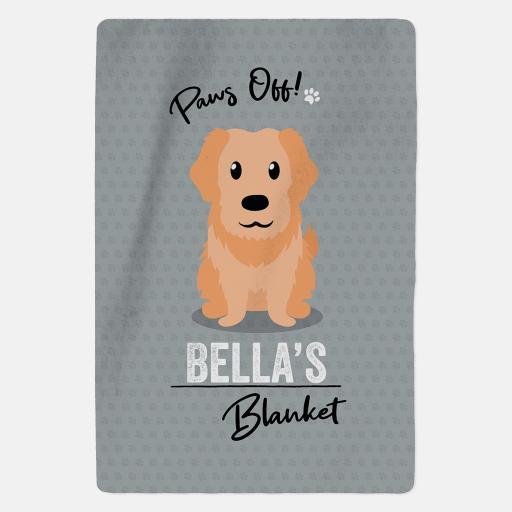 Personalised Golden Retriever Fleece Blanket - Paws Off