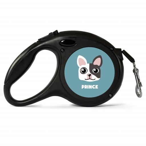 Personalised White & Black French Bulldog Retractable Dog Lead - Small