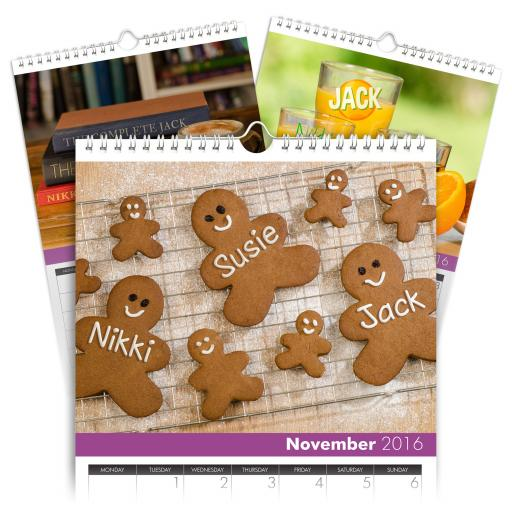 Personalised A4 Family Calendar Image Set For 4