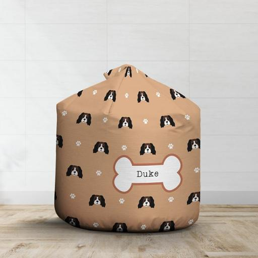 Personalised Brown and White Cocker Spaniel Bean Bag - Pattern