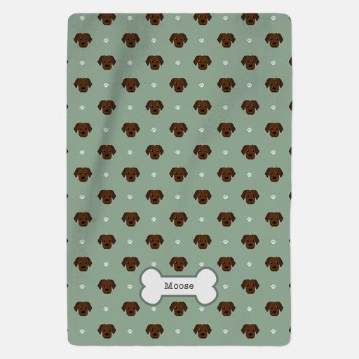 Personalised Chocolate Labrador Fleece Blanket - Pattern