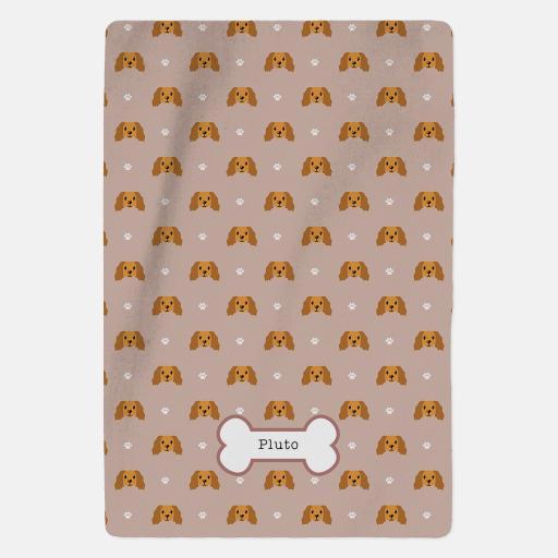 Personalised Golden Cocker Spaniel Fleece Blanket - Pattern