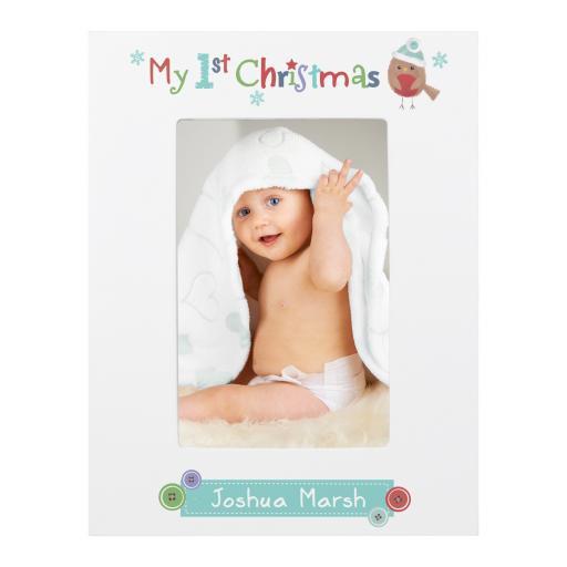 Personalised Felt Stitch Robin My 1st Christmas 6x4 White Wooden Photo Frame