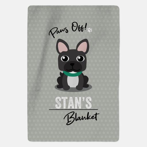 Personalised Black French Bulldog Fleece Blanket - Paws Off