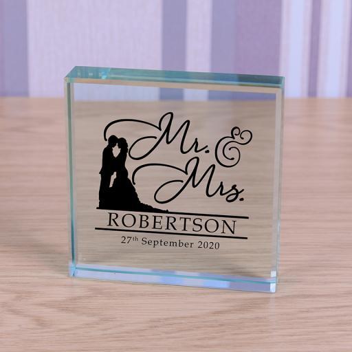 Personalised Glass Token - Mr & Mrs