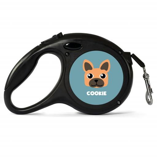 Personalised Brown French Bulldog Retractable Dog Lead - Small