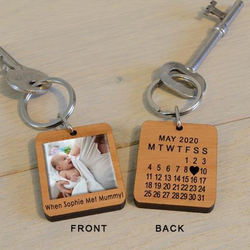 Personalised When Met...Mummy Photo Key Ring.