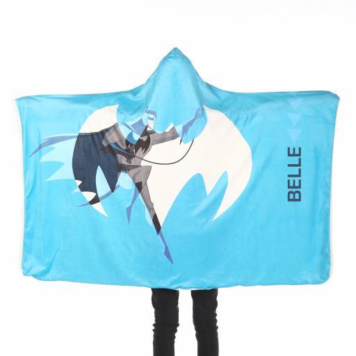 Personalised Batman Kids Hooded Fleece Blanket - Blue.