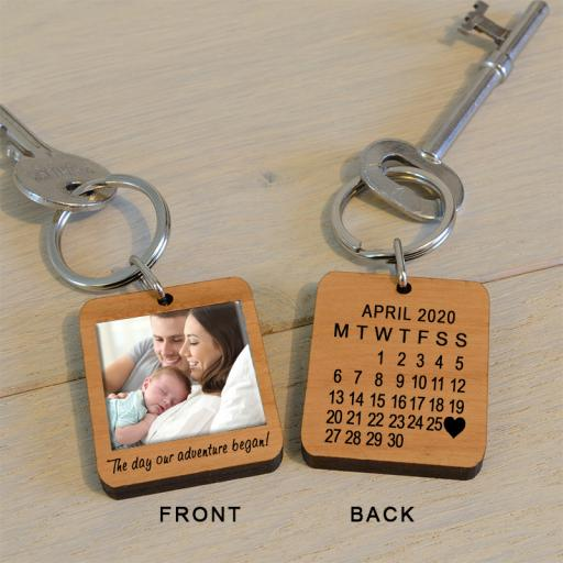 Personalised The Day Our Adventure Began Photo Key Ring.