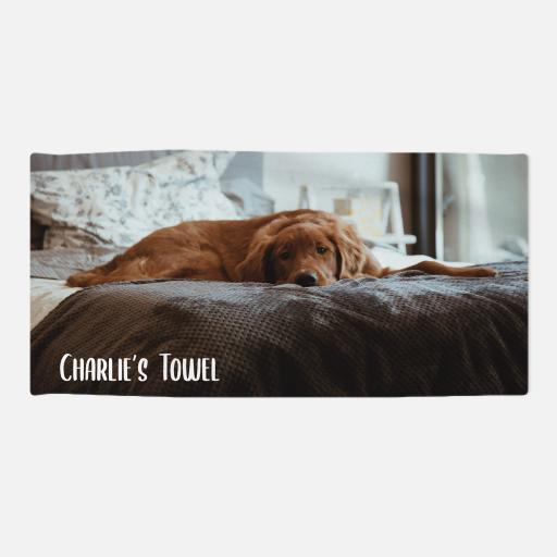 Personalised Pet Towel -Photo Upload  - White Text - 70 x 140