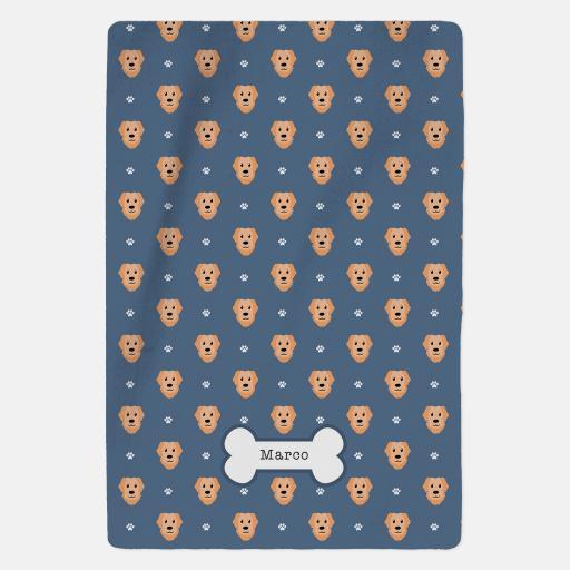 Personalised Golden Retriever Fleece Blanket - Pattern