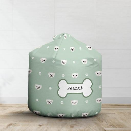 Personalised White Pug Bean Bag - Pattern