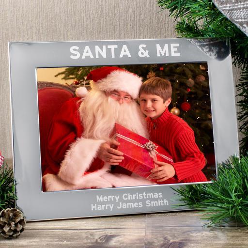 Personalised engraved Santa & Me 5x7 Landscape Photo Frame