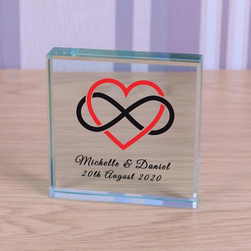 Personalised Glass Token - Heart Infinity