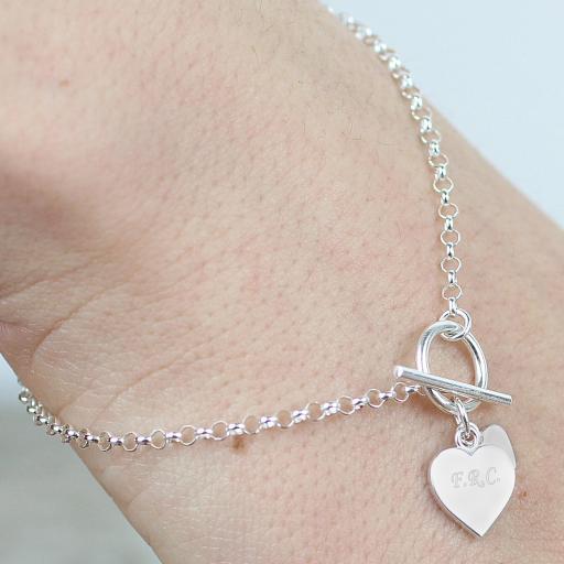 Engraved Hearts T-Bar Bracelet