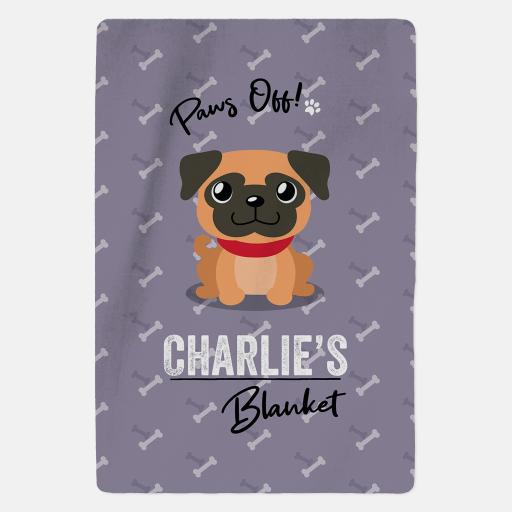 Personalised Apricot Pug Fleece Blanket - Paws Off