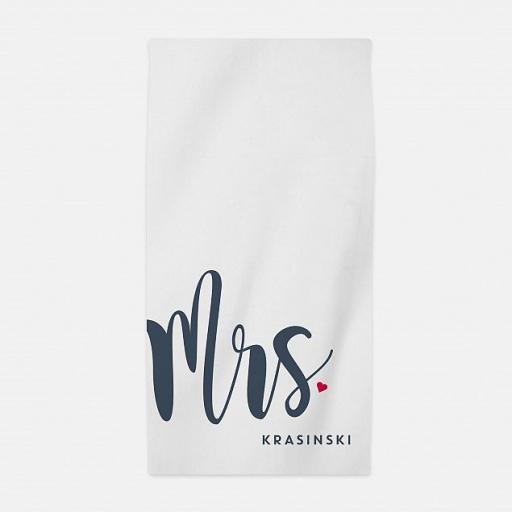 Personalised 'Mrs' Honeymoon Beach Towel.