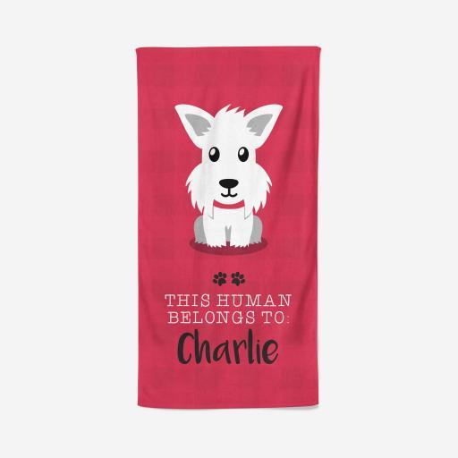 Personalised Westie Towel - Owner