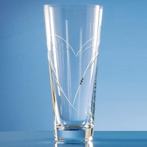 Personalised 30cm Diamante Conical Vase with Heart Shaped Cutting.