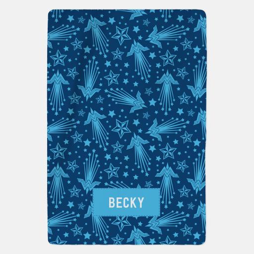 Personalised Wonder Woman™ Personalised Blanket - Blue Pattern.