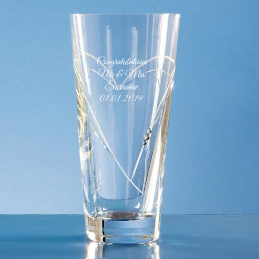 Personalised Design 1 - 20cm Diamante Conical Vase with Heart Shaped Cutting.