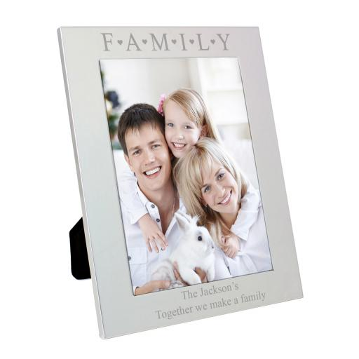 Personalised engraved Silver 'Family and Hearts' Photo Frame