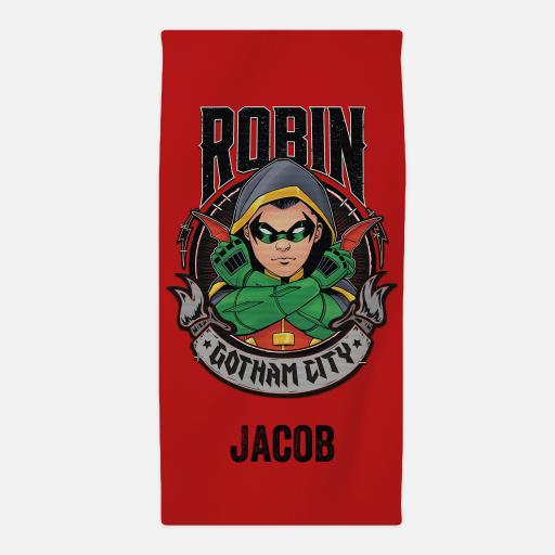 Personalised Team Batman Robin Beach Towel.