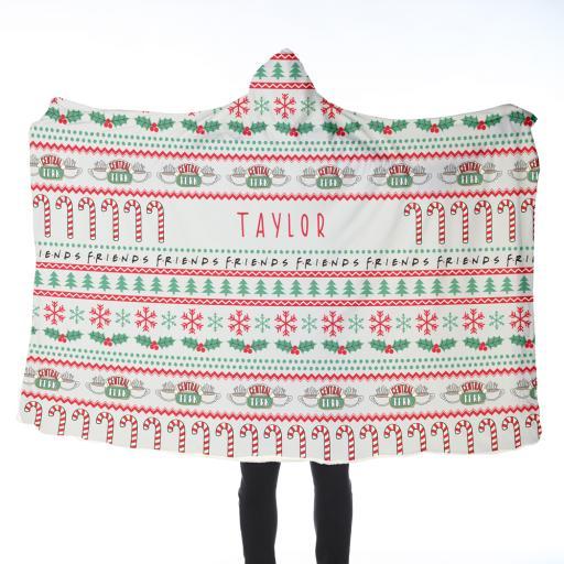 Personalised FRIENDS™ Adult Hooded Blanket - Christmas.