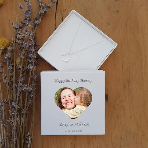 Personalised Photo Upload  Silver Heart Pendant