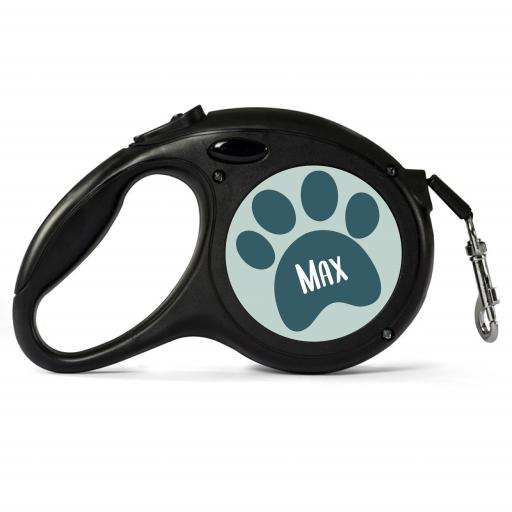 Personalised Black Retractable Dog Lead - Paw - Small
