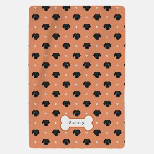 Personalised Black Labrador Fleece Blanket - Pattern