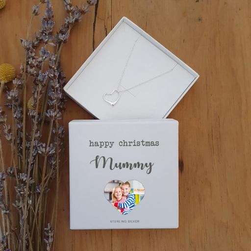 Personalised Happy Christmas Silver Heart Pendant
